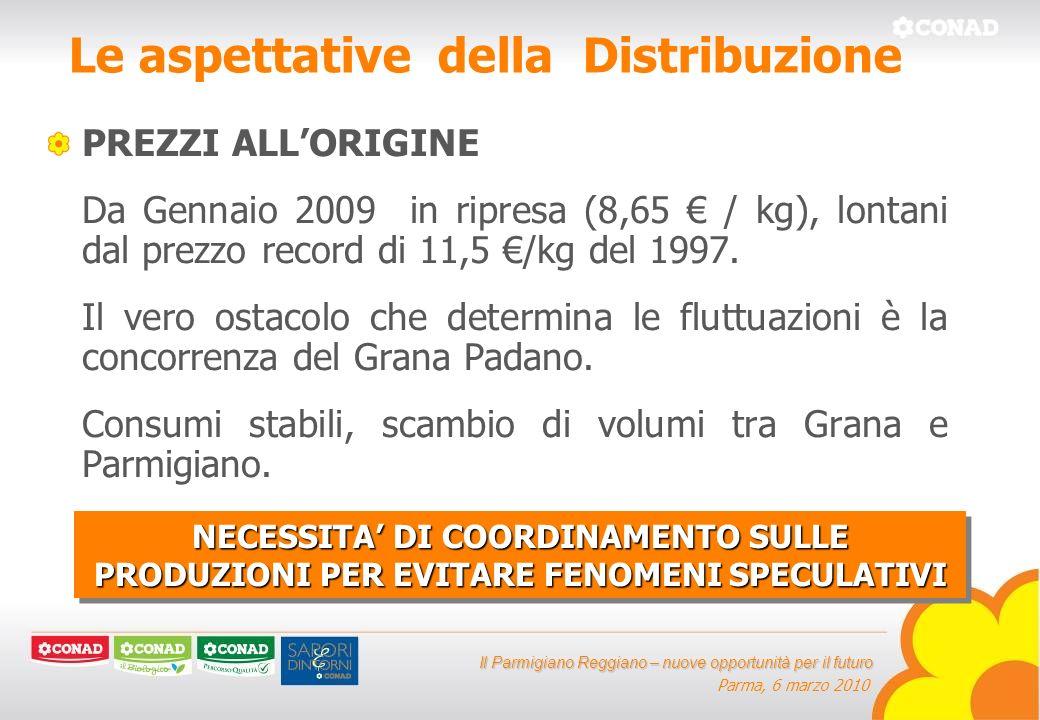 Il Parmigiano Reggiano – nuove opportunità per il futuro Parma, 6 marzo 2010 Le aspettative della Distribuzione PREZZI ALLORIGINE Da Gennaio 2009 in ripresa (8,65 / kg), lontani dal prezzo record di 11,5 /kg del 1997.