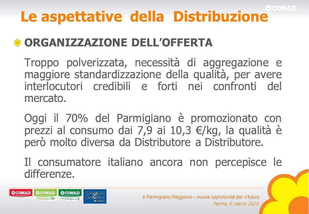 Il Parmigiano Reggiano – nuove opportunità per il futuro Parma, 6 marzo 2010 Le aspettative della Distribuzione ORGANIZZAZIONE DELLOFFERTA Troppo polverizzata, necessità di aggregazione e maggiore standardizzazione della qualità, per avere interlocutori credibili e forti nei confronti del mercato.