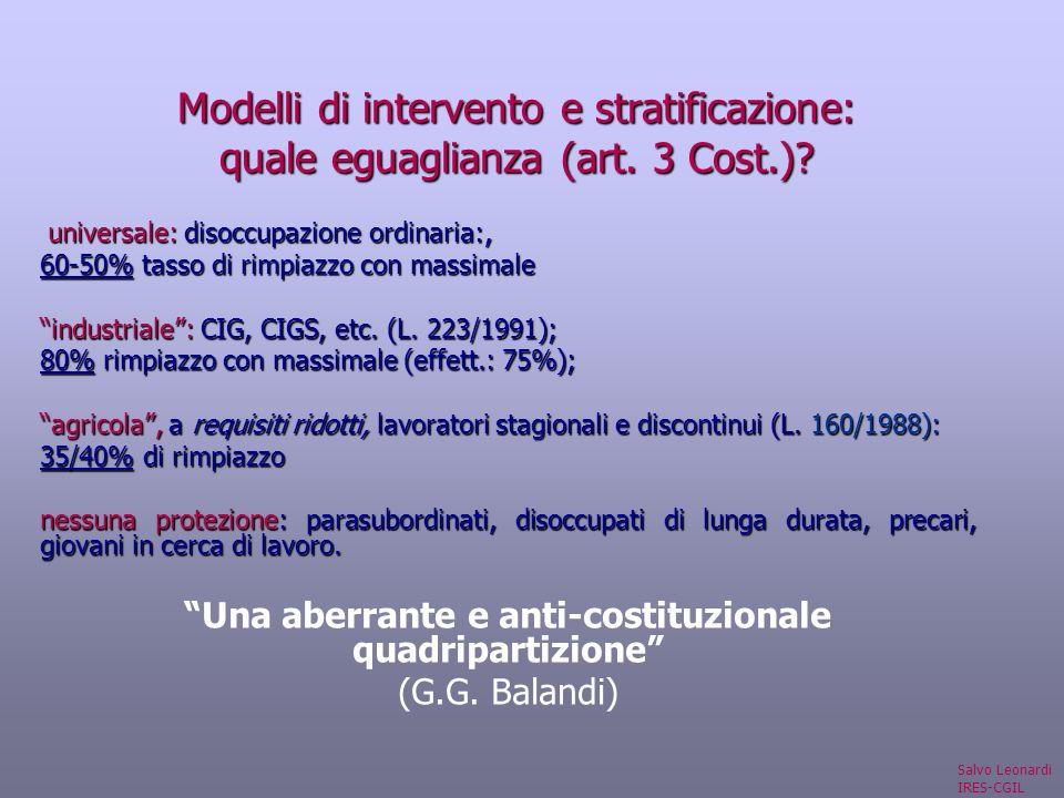 Modelli di intervento e stratificazione: quale eguaglianza (art.