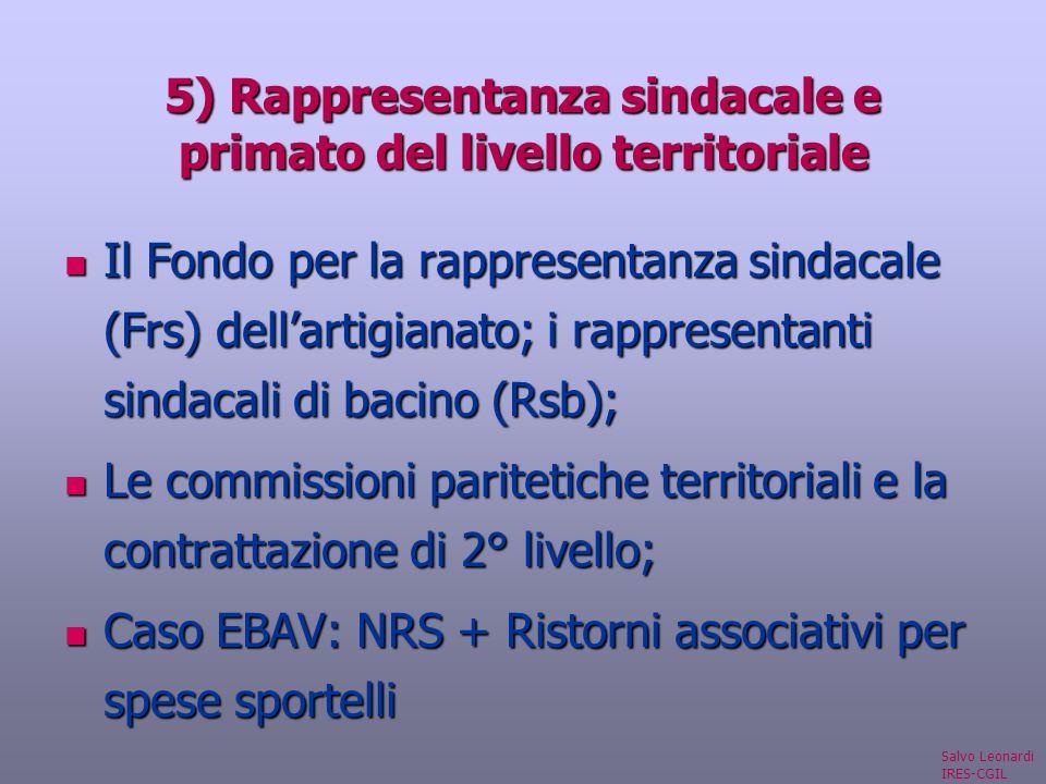 5) Rappresentanza sindacale e primato del livello territoriale Il Fondo per la rappresentanza sindacale (Frs) dellartigianato; i rappresentanti sindacali di bacino (Rsb); Il Fondo per la rappresentanza sindacale (Frs) dellartigianato; i rappresentanti sindacali di bacino (Rsb); Le commissioni paritetiche territoriali e la contrattazione di 2° livello; Le commissioni paritetiche territoriali e la contrattazione di 2° livello; Caso EBAV: NRS + Ristorni associativi per spese sportelli Caso EBAV: NRS + Ristorni associativi per spese sportelli Salvo Leonardi IRES-CGIL