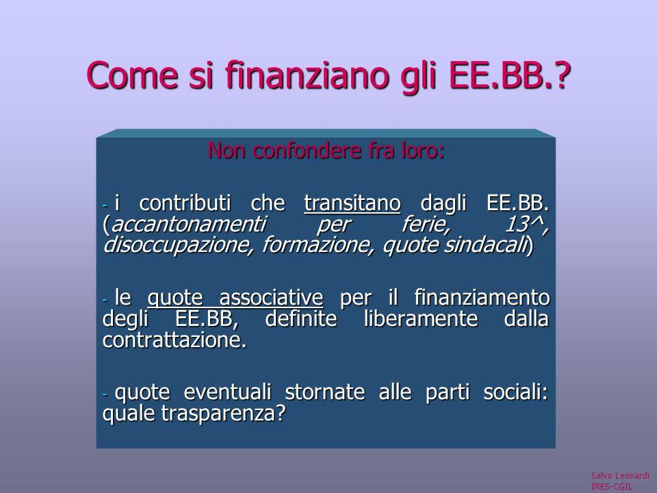 Come si finanziano gli EE.BB.. Non confondere fra loro: - i contributi che transitano dagli EE.BB.