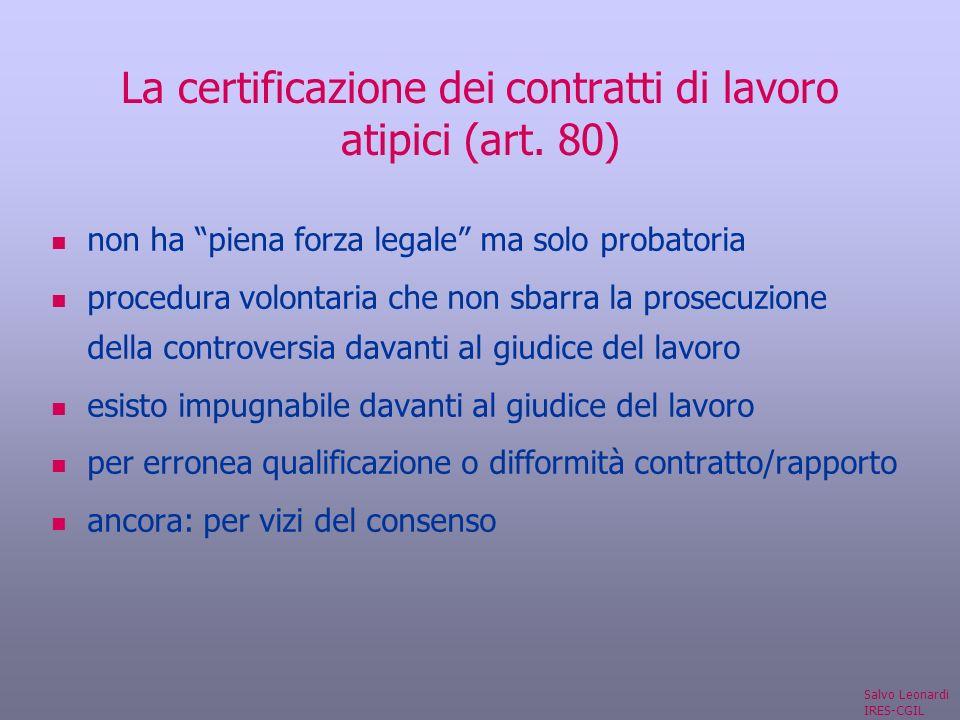 La certificazione dei contratti di lavoro atipici (art.
