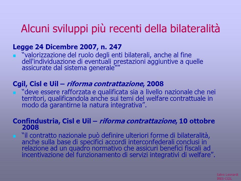 Alcuni sviluppi più recenti della bilateralità Legge 24 Dicembre 2007, n.