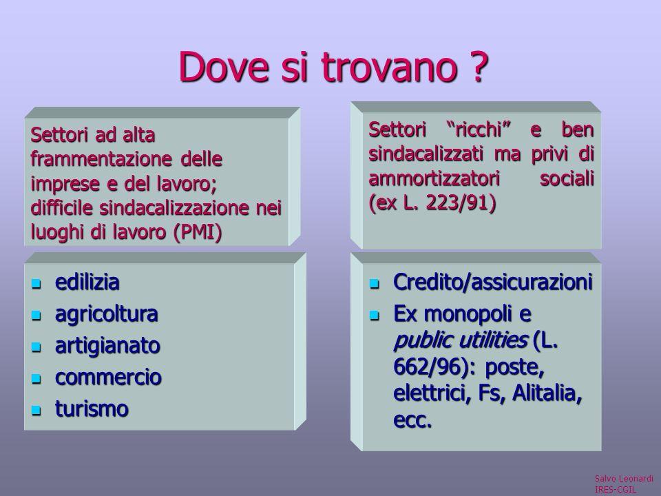 Dove si trovano . Credito/assicurazioni Credito/assicurazioni Ex monopoli e public utilities (L.