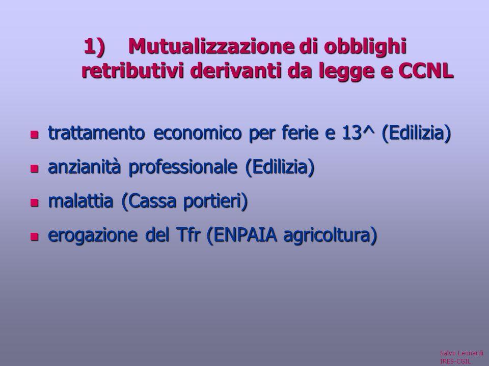 1)Mutualizzazione di obblighi retributivi derivanti da legge e CCNL trattamento economico per ferie e 13^ (Edilizia) trattamento economico per ferie e 13^ (Edilizia) anzianità professionale (Edilizia) anzianità professionale (Edilizia) malattia (Cassa portieri) malattia (Cassa portieri) erogazione del Tfr (ENPAIA agricoltura) erogazione del Tfr (ENPAIA agricoltura) Salvo Leonardi IRES-CGIL