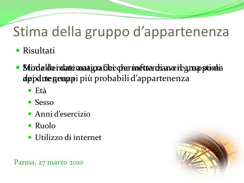 Stima della gruppo dappartenenza Risultati Parma, 27 marzo 2010 Stima dei dati anagrafici che infuenzano il gruppo di appartenenza Età Sesso Anni desercizio Ruolo Utilizzo di internet Modello matematico che permetta di avere una stima dei due gruppi più probabili dappartenenza