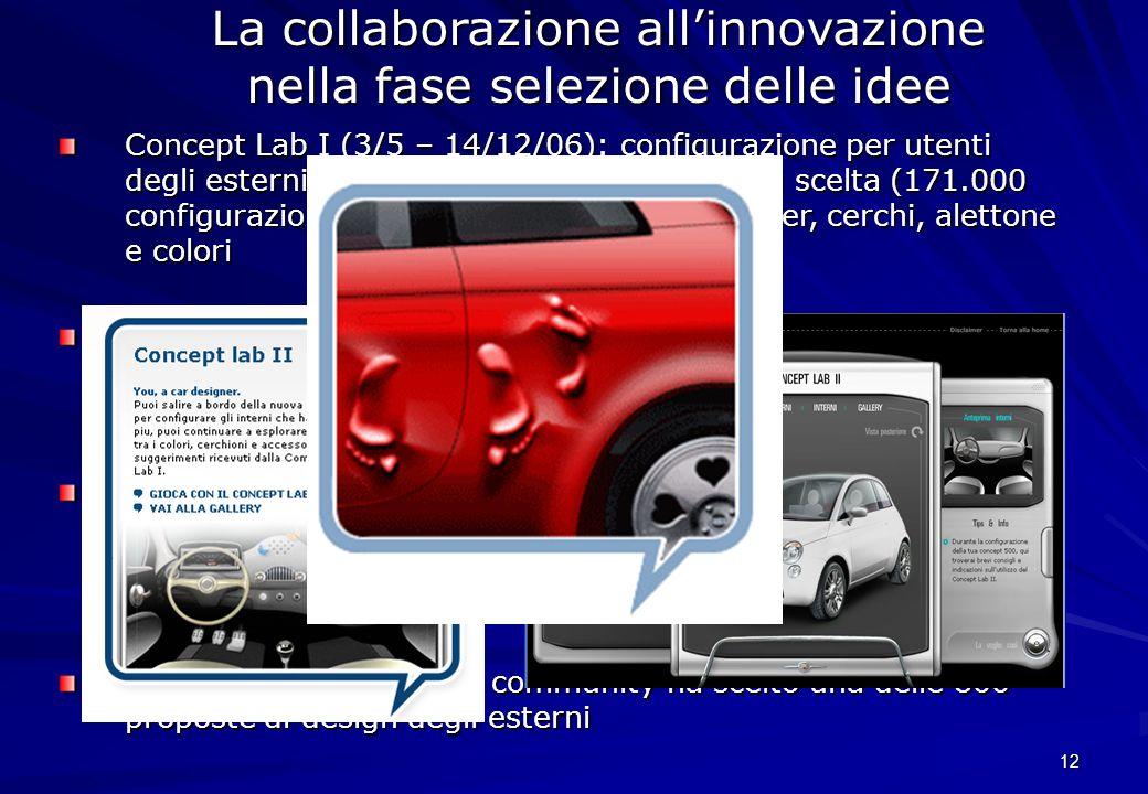 12 Concept Lab I (3/5 – 14/12/06): configurazione per utenti degli esterni di Trepiùno con ampia libertà di scelta (171.000 configurazioni e 22.400 su