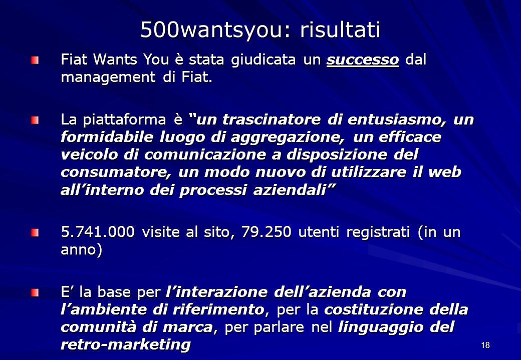 18 Fiat Wants You è stata giudicata un successo dal management di Fiat. La piattaforma è un trascinatore di entusiasmo, un formidabile luogo di aggreg