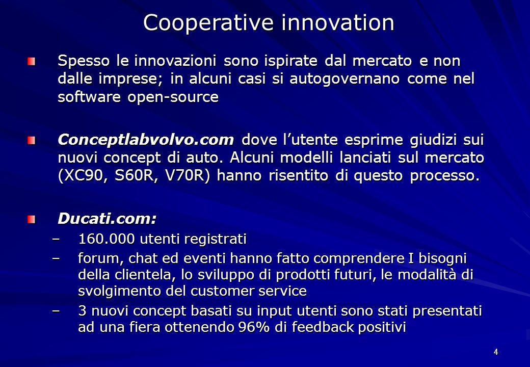 4 Cooperative innovation Spesso le innovazioni sono ispirate dal mercato e non dalle imprese; in alcuni casi si autogovernano come nel software open-s