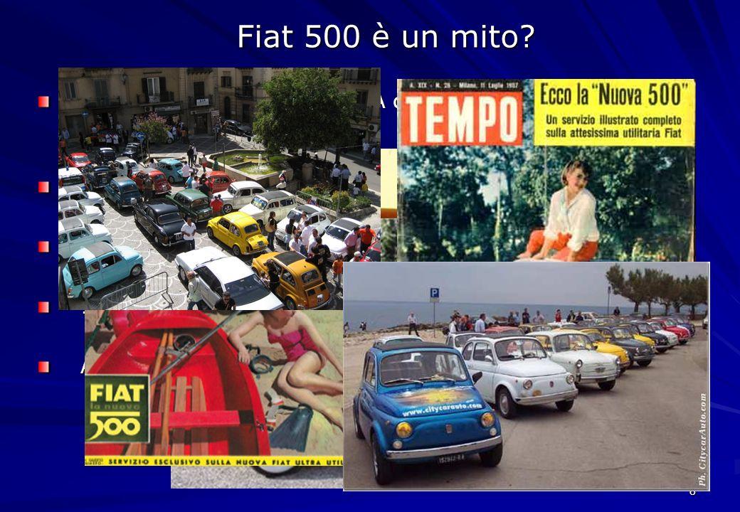 8 Anni 30: Nasce la Fiat 500 A detta Topolino disegnata da Giocosa 1955 esce la Seicento 4 luglio 1957: Nuova 500 1957-75: 4 milioni di auto vendute A