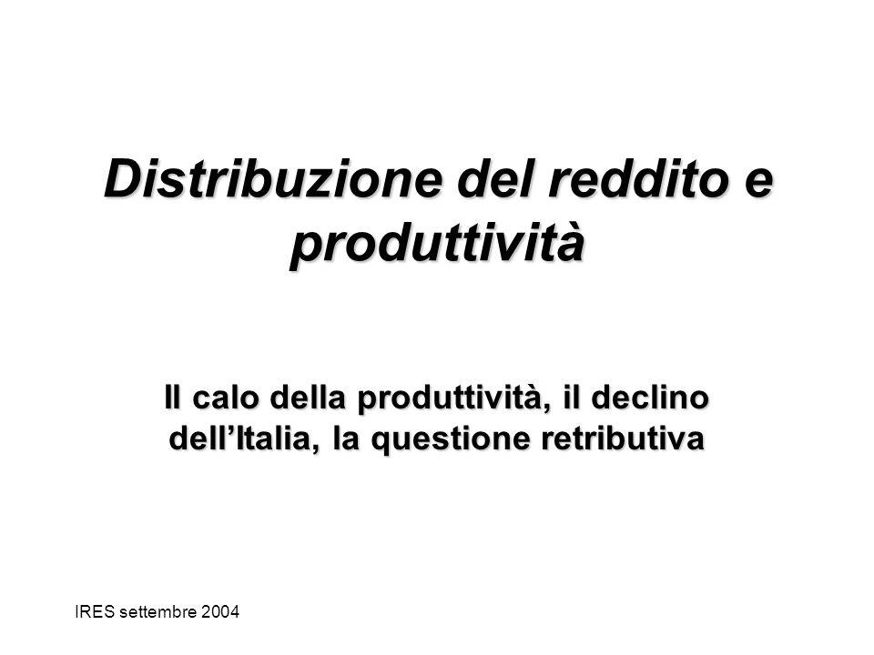 IRES settembre 2004 Distribuzione del reddito e produttività Il calo della produttività, il declino dellItalia, la questione retributiva