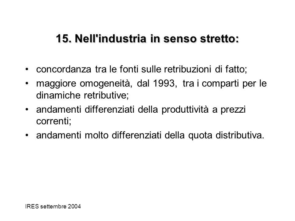 IRES settembre 2004 15. Nell'industria in senso stretto: concordanza tra le fonti sulle retribuzioni di fatto; maggiore omogeneità, dal 1993, tra i co