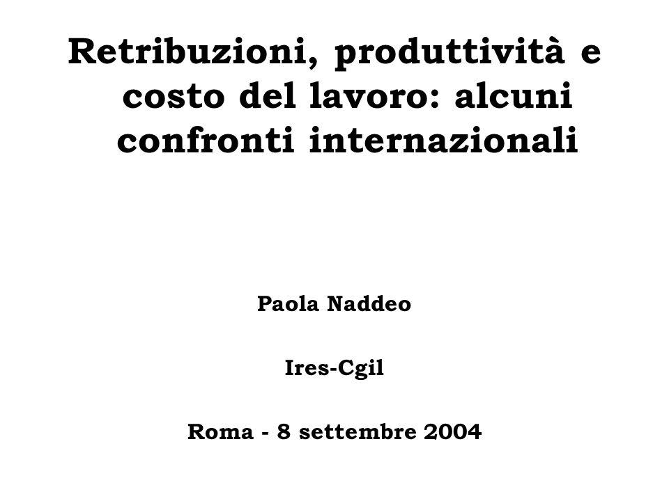 Retribuzioni, produttività e costo del lavoro: alcuni confronti internazionali Paola Naddeo Ires-Cgil Roma - 8 settembre 2004