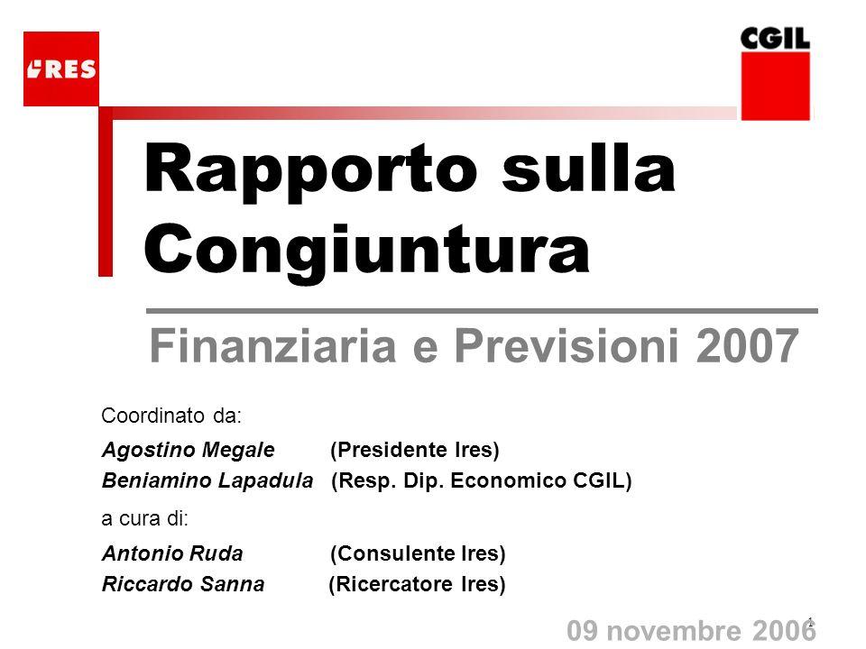 1 Rapporto sulla Congiuntura Finanziaria e Previsioni 2007 09 novembre 2006 Coordinato da: Agostino Megale (Presidente Ires) Beniamino Lapadula (Resp.