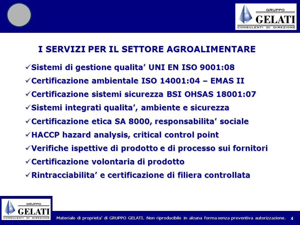 Materiale di proprieta' di GRUPPO GELATI. Non riproducibile in alcuna forma senza preventiva autorizzazione. 4 Sistemi di gestione qualita UNI EN ISO
