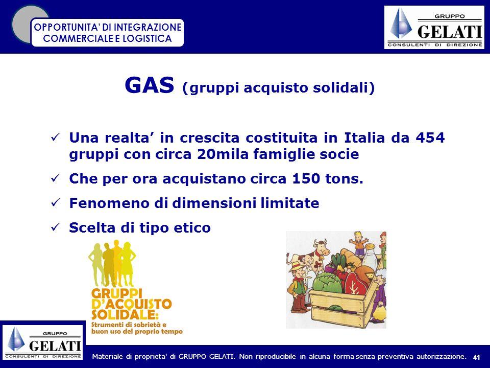Materiale di proprieta' di GRUPPO GELATI. Non riproducibile in alcuna forma senza preventiva autorizzazione. 41 GAS (gruppi acquisto solidali) Una rea