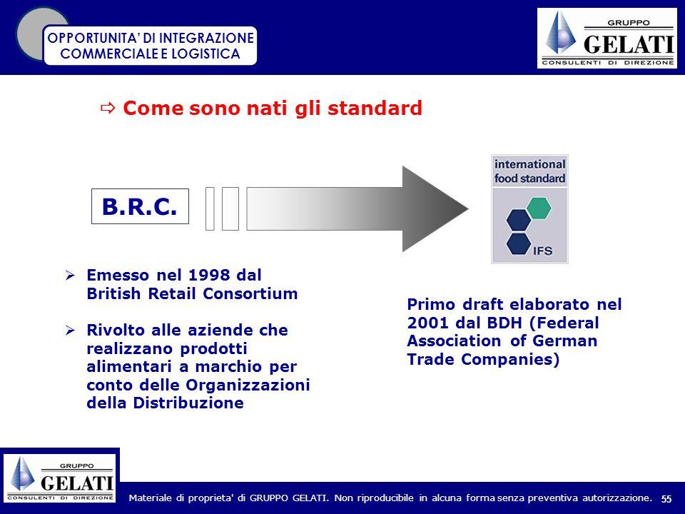 Materiale di proprieta' di GRUPPO GELATI. Non riproducibile in alcuna forma senza preventiva autorizzazione. 55 Come sono nati gli standard B.R.C. Eme