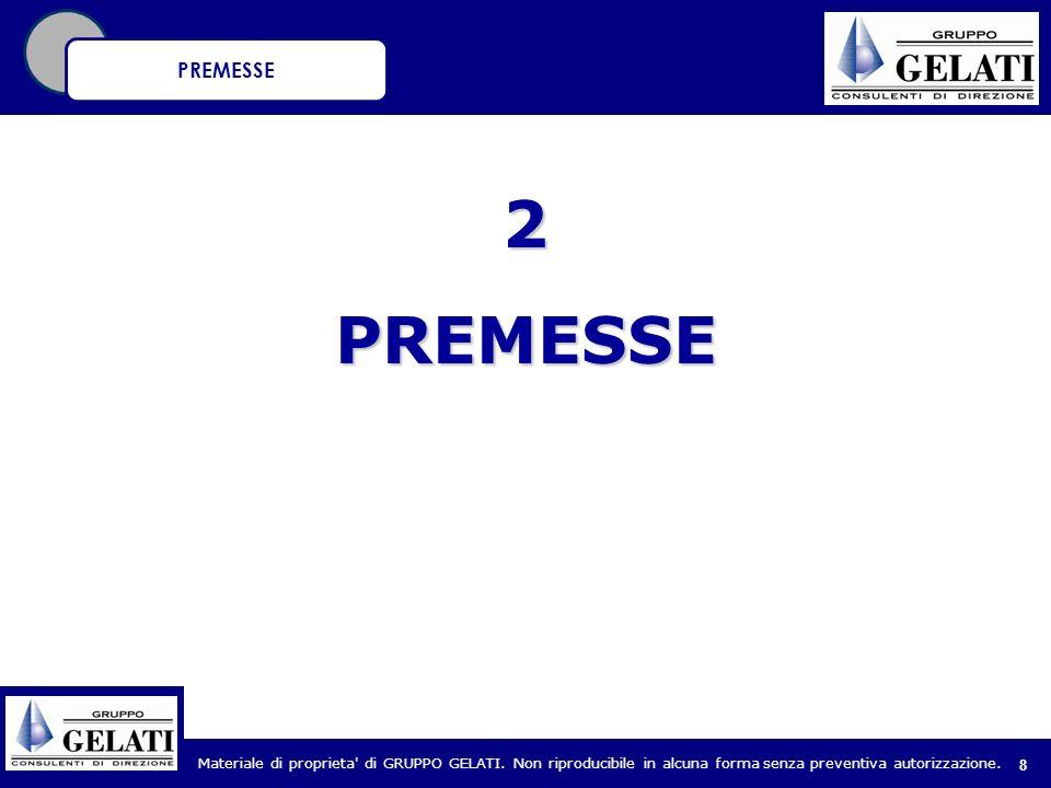 Materiale di proprieta' di GRUPPO GELATI. Non riproducibile in alcuna forma senza preventiva autorizzazione. 8 2PREMESSE PREMESSE