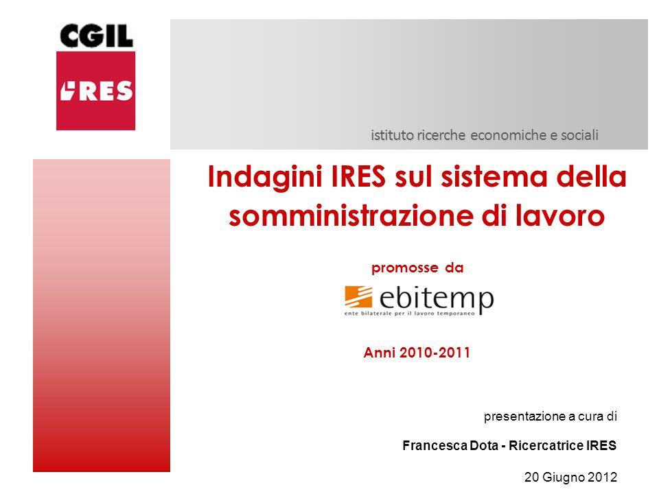 istituto ricerche economiche e sociali Indagini IRES sul sistema della somministrazione di lavoro promosse da Anni 2010-2011 presentazione a cura di F