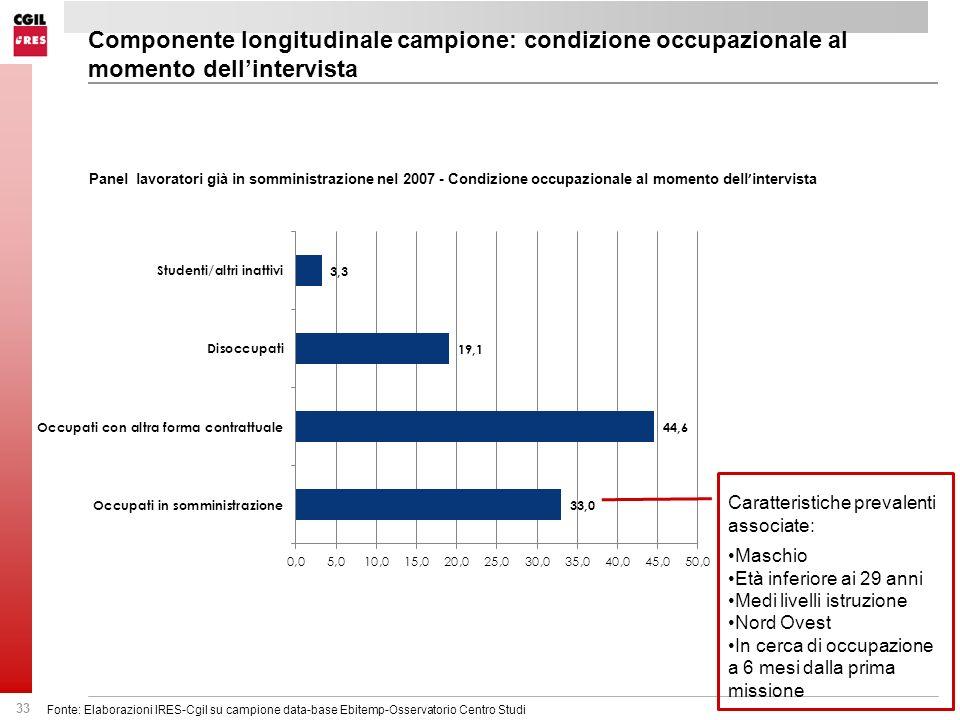 33 Fonte: Elaborazioni IRES-Cgil su campione data-base Ebitemp-Osservatorio Centro Studi Componente longitudinale campione: condizione occupazionale a
