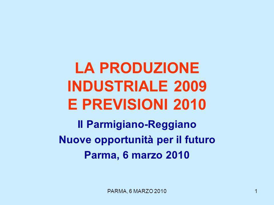 PARMA, 6 MARZO 20101 LA PRODUZIONE INDUSTRIALE 2009 E PREVISIONI 2010 Il Parmigiano-Reggiano Nuove opportunità per il futuro Parma, 6 marzo 2010