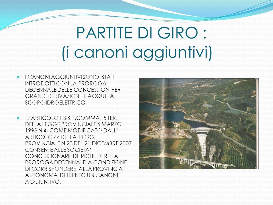 PARTITE DI GIRO : (i canoni aggiuntivi) I CANONI AGGIUNTIVI SONO STATI INTRODOTTI CON LA PROROGA DECENNALE DELLE CONCESSIONI PER GRANDI DERIVAZIONI DI ACQUE A SCOPO IDROELETTRICO LARTICOLO 1 BIS 1,COMMA 15 TER, DELLA LEGGE PROVINCIALE 6 MARZO 1998 N 4, COME MODIFICATO DALL ARTICOLO 44 DELLA LEGGE PROVINCIALE N 23 DEL 21 DICEMBRE 2007 CONSENTE ALLE SOCIETA CONCESSIONARIE DI RICHIEDERE LA PROROGA DECENNALE A CONDIZIONE DI CORRISPONDERE ALLA PROVINCIA AUTONOMA DI TRENTO UN CANONE AGGIUNTIVO.
