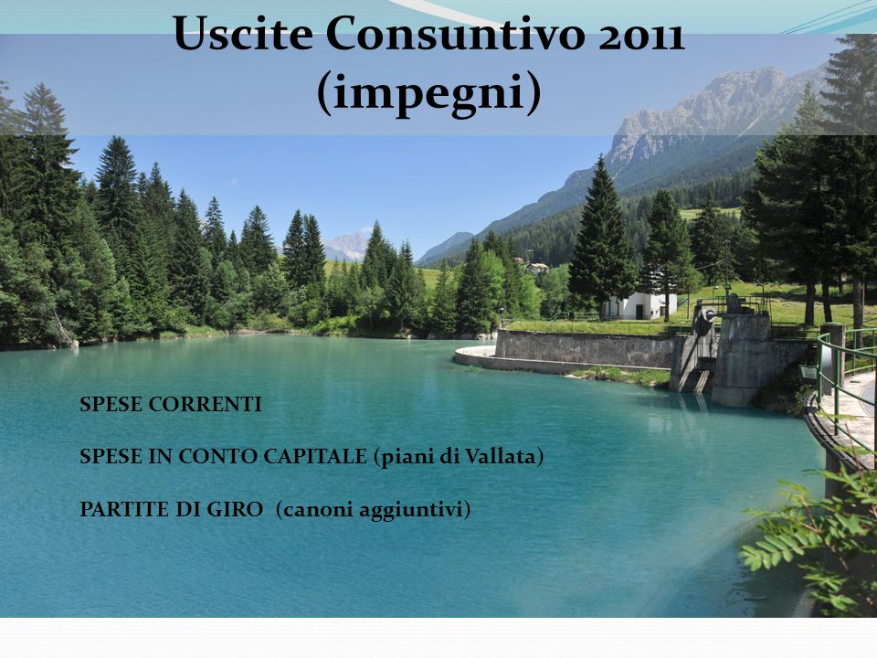 SPESE CORRENTI SPESE IN CONTO CAPITALE (piani di Vallata) PARTITE DI GIRO (canoni aggiuntivi) Uscite Consuntivo 2011 (impegni)