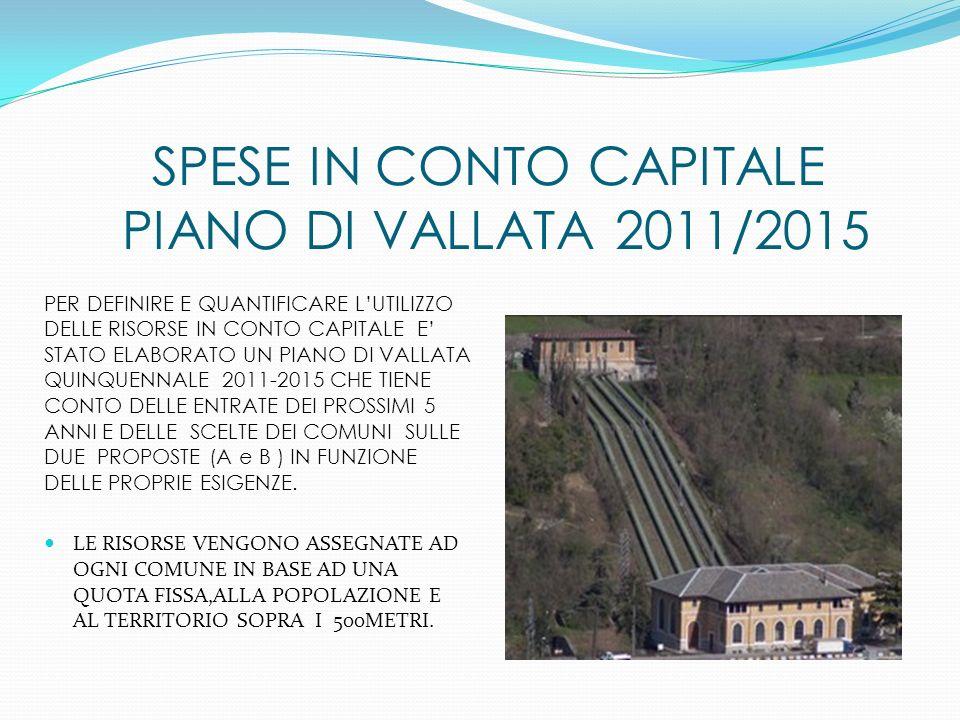 SPESE IN CONTO CAPITALE PIANO DI VALLATA 2011/2015 PER DEFINIRE E QUANTIFICARE LUTILIZZO DELLE RISORSE IN CONTO CAPITALE E STATO ELABORATO UN PIANO DI VALLATA QUINQUENNALE 2011-2015 CHE TIENE CONTO DELLE ENTRATE DEI PROSSIMI 5 ANNI E DELLE SCELTE DEI COMUNI SULLE DUE PROPOSTE (A e B ) IN FUNZIONE DELLE PROPRIE ESIGENZE.