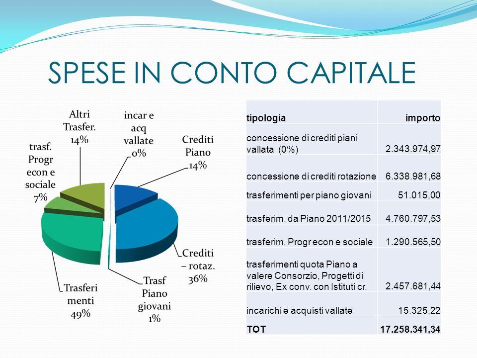 SPESE IN CONTO CAPITALE tipologiaimporto concessione di crediti piani vallata (0%) 2.343.974,97 concessione di crediti rotazione6.338.981,68 trasferimenti per piano giovani51.015,00 trasferim.