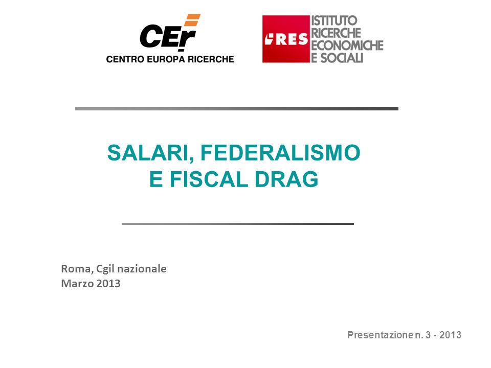 Febbraio 2013 SALARI, FEDERALISMO E FISCAL DRAG Roma, Cgil nazionale Marzo 2013 Presentazione n. 3 - 2013