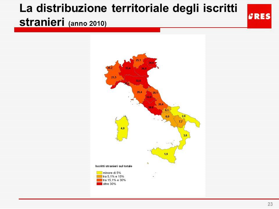 23 La distribuzione territoriale degli iscritti stranieri (anno 2010)