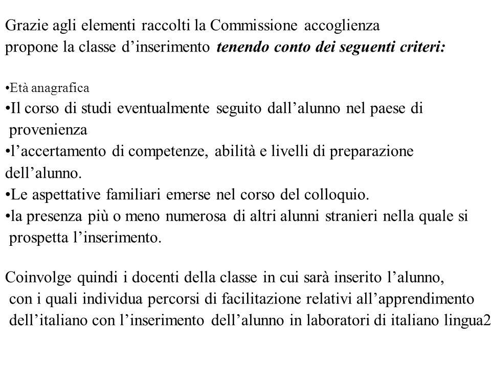 Grazie agli elementi raccolti la Commissione accoglienza propone la classe dinserimento tenendo conto dei seguenti criteri: Età anagrafica Il corso di