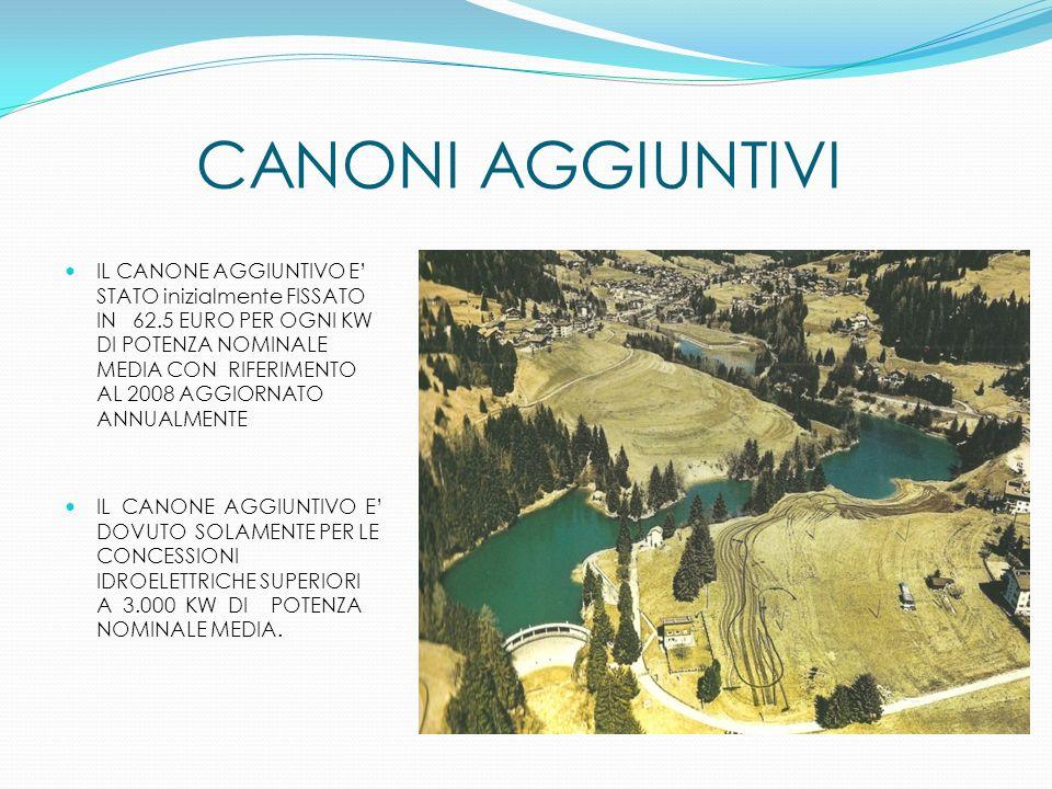 CANONI AGGIUNTIVI IL CANONE AGGIUNTIVO E STATO inizialmente FISSATO IN 62.5 EURO PER OGNI KW DI POTENZA NOMINALE MEDIA CON RIFERIMENTO AL 2008 AGGIORN