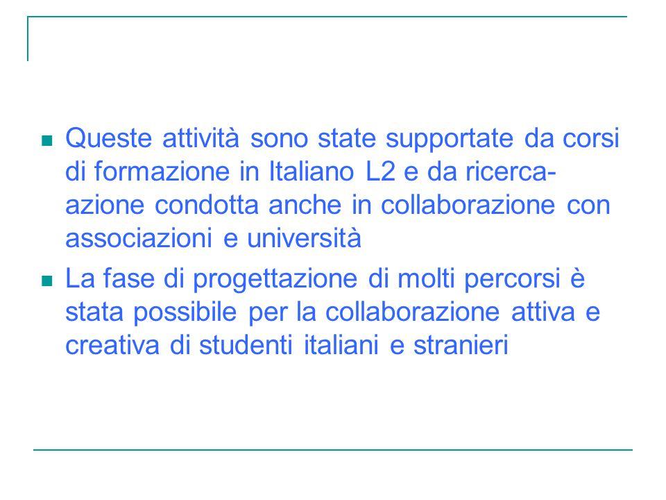 Queste attività sono state supportate da corsi di formazione in Italiano L2 e da ricerca- azione condotta anche in collaborazione con associazioni e università La fase di progettazione di molti percorsi è stata possibile per la collaborazione attiva e creativa di studenti italiani e stranieri