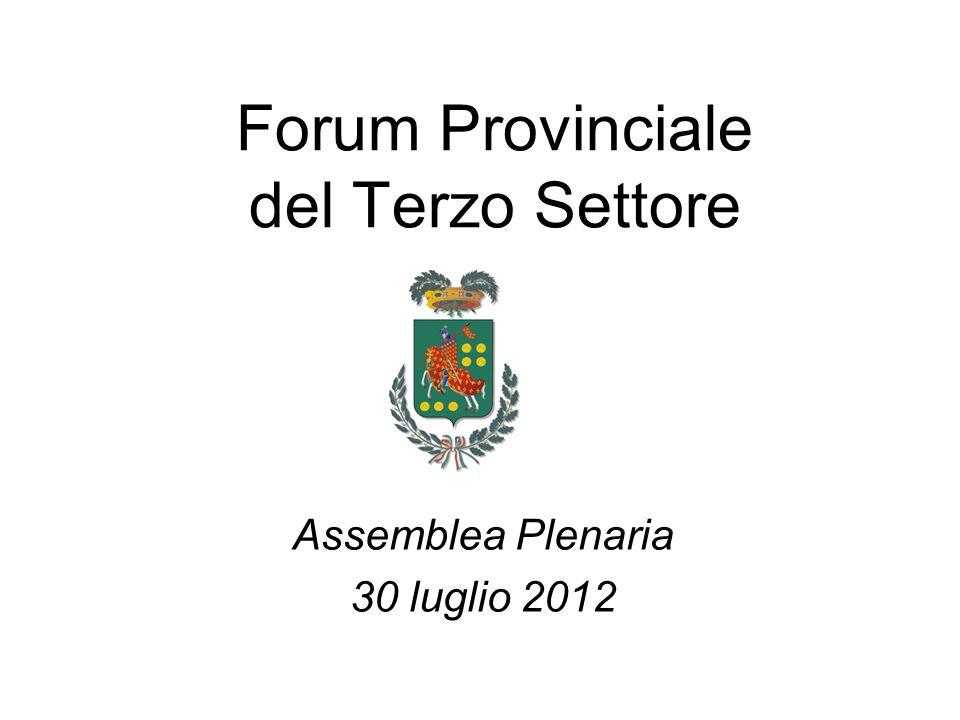 Forum Provinciale del Terzo Settore Assemblea Plenaria 30 luglio 2012