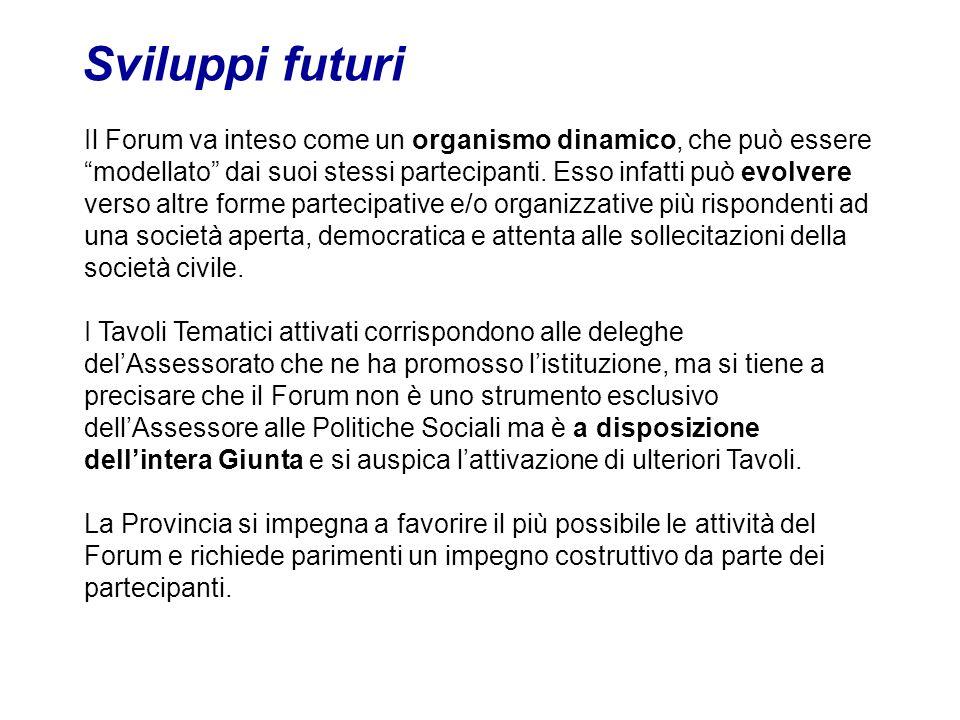 Sviluppi futuri Il Forum va inteso come un organismo dinamico, che può essere modellato dai suoi stessi partecipanti.
