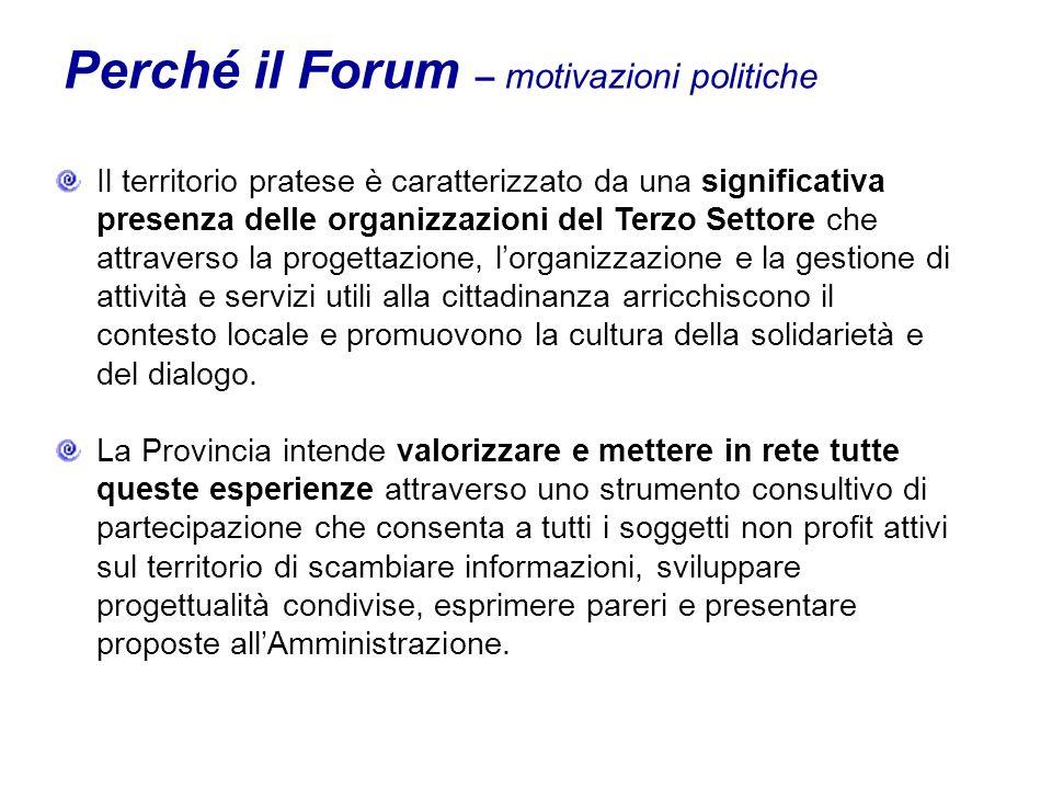 Perché il Forum – motivazioni politiche Il territorio pratese è caratterizzato da una significativa presenza delle organizzazioni del Terzo Settore che attraverso la progettazione, lorganizzazione e la gestione di attività e servizi utili alla cittadinanza arricchiscono il contesto locale e promuovono la cultura della solidarietà e del dialogo.