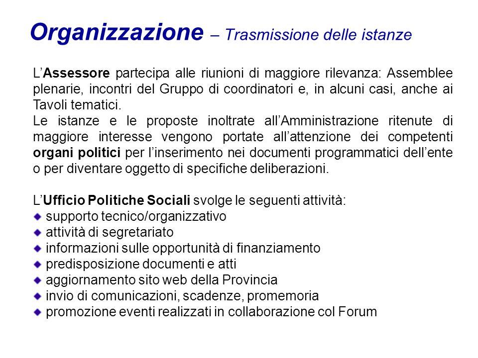 Organizzazione – Trasmissione delle istanze LAssessore partecipa alle riunioni di maggiore rilevanza: Assemblee plenarie, incontri del Gruppo di coordinatori e, in alcuni casi, anche ai Tavoli tematici.