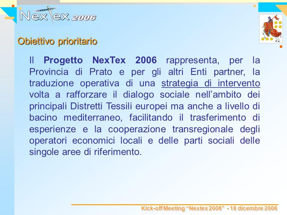 Kick-off Meeting Nextex 2006 - 18 dicembre 2006 Il Progetto NexTex 2006 rappresenta, per la Provincia di Prato e per gli altri Enti partner, la traduzione operativa di una strategia di intervento volta a rafforzare il dialogo sociale nellambito dei principali Distretti Tessili europei ma anche a livello di bacino mediterraneo, facilitando il trasferimento di esperienze e la cooperazione transregionale degli operatori economici locali e delle parti sociali delle singole aree di riferimento.