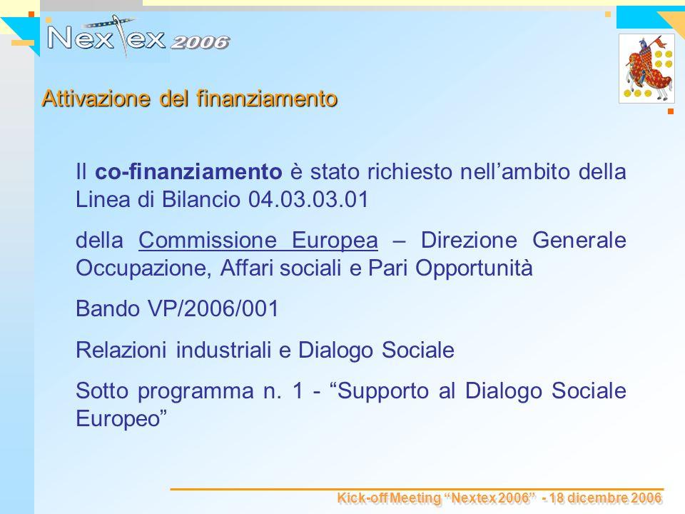 Kick-off Meeting Nextex 2006 - 18 dicembre 2006 Il co-finanziamento è stato richiesto nellambito della Linea di Bilancio 04.03.03.01 della Commissione Europea – Direzione Generale Occupazione, Affari sociali e Pari Opportunità Bando VP/2006/001 Relazioni industriali e Dialogo Sociale Sotto programma n.
