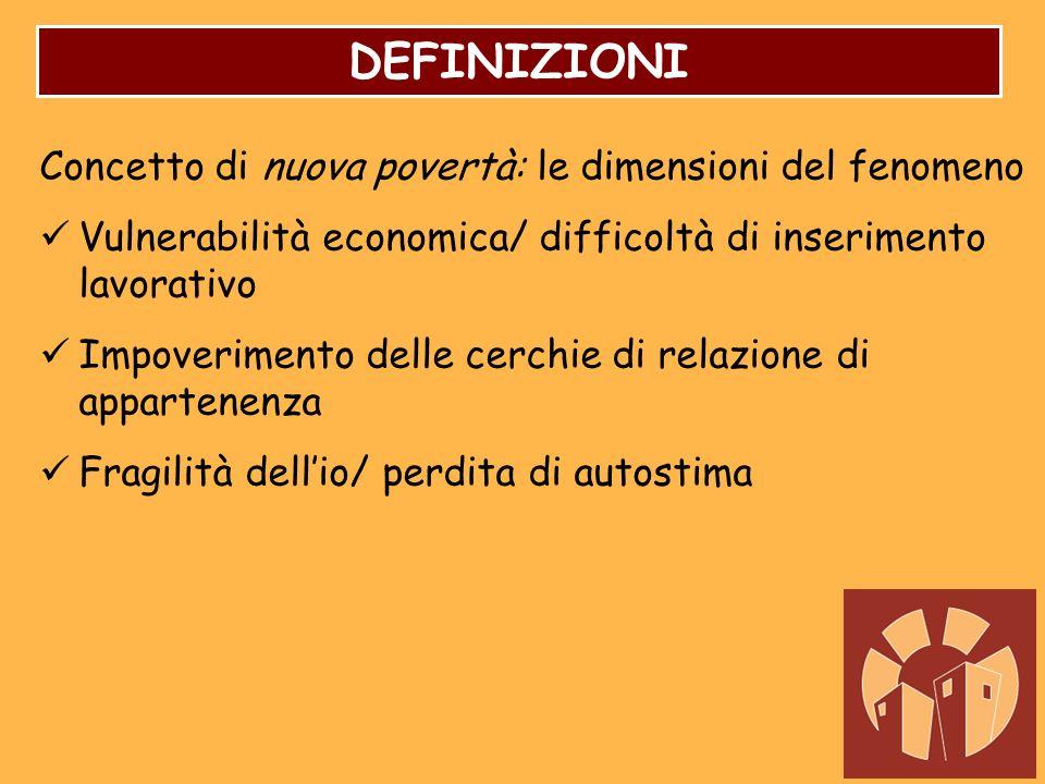 DEFINIZIONI Concetto di nuova povertà: le dimensioni del fenomeno Vulnerabilità economica/ difficoltà di inserimento lavorativo Impoverimento delle ce