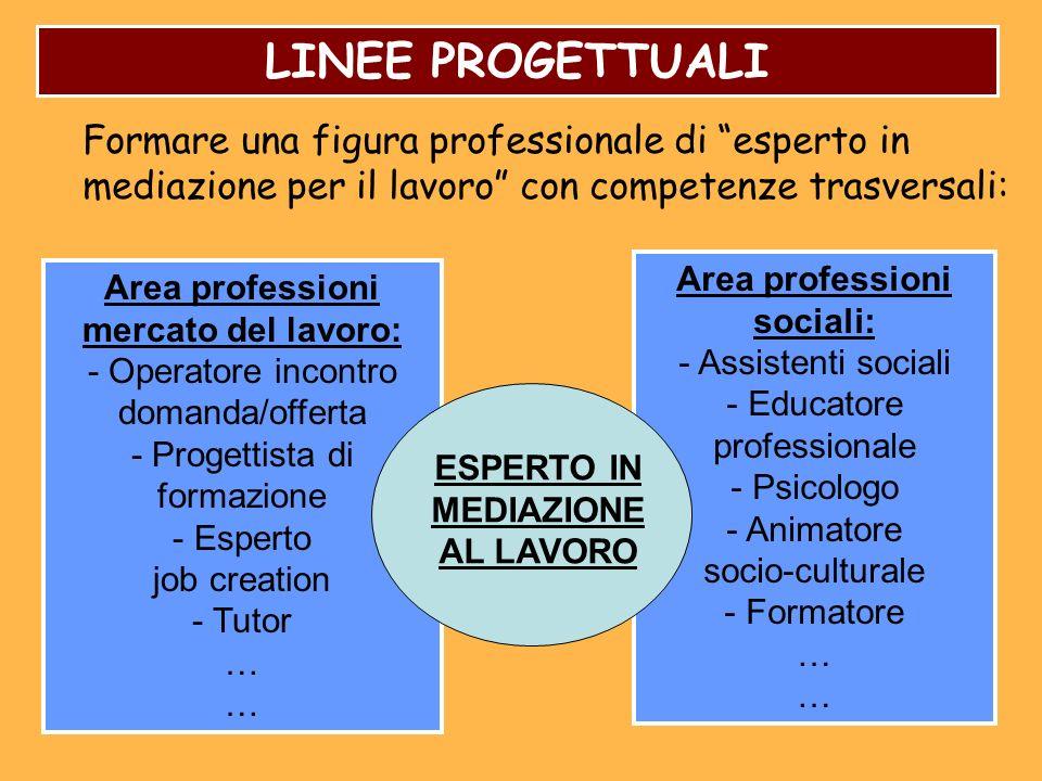 Area professioni sociali: - Assistenti sociali - Educatore professionale - Psicologo - Animatore socio-culturale - Formatore … Area professioni mercat