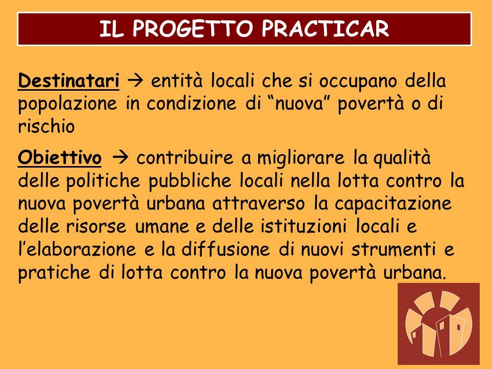 IL PROGETTO PRACTICAR Destinatari entità locali che si occupano della popolazione in condizione di nuova povertà o di rischio Obiettivo contribuire a
