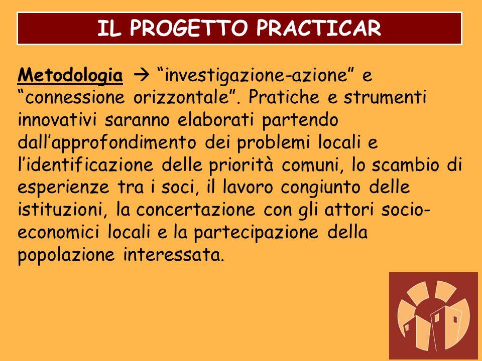 IL PROGETTO PRACTICAR Metodologia investigazione-azione e connessione orizzontale. Pratiche e strumenti innovativi saranno elaborati partendo dallappr