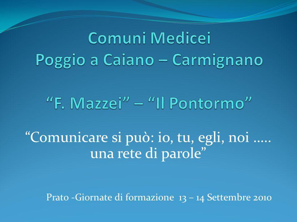 Comunicare si può: io, tu, egli, noi ….. una rete di parole Prato -Giornate di formazione 13 – 14 Settembre 2010
