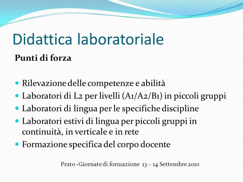 Didattica laboratoriale Punti di forza Rilevazione delle competenze e abilità Laboratori di L2 per livelli (A1/A2/B1) in piccoli gruppi Laboratori di