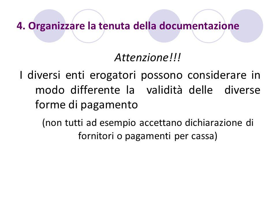 4. Organizzare la tenuta della documentazione Attenzione!!! I diversi enti erogatori possono considerare in modo differente la validità delle diverse