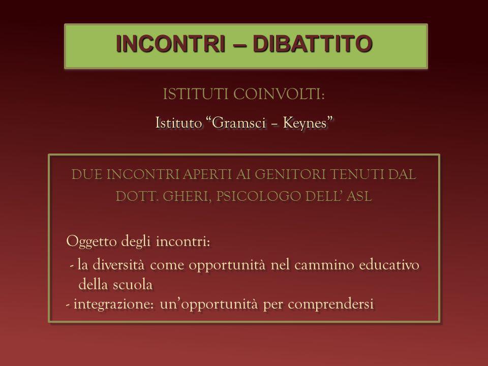 INCONTRI – DIBATTITO ISTITUTI COINVOLTI: Istituto Gramsci – Keynes DUE INCONTRI APERTI AI GENITORI TENUTI DAL DOTT. GHERI, PSICOLOGO DELL ASL Oggetto