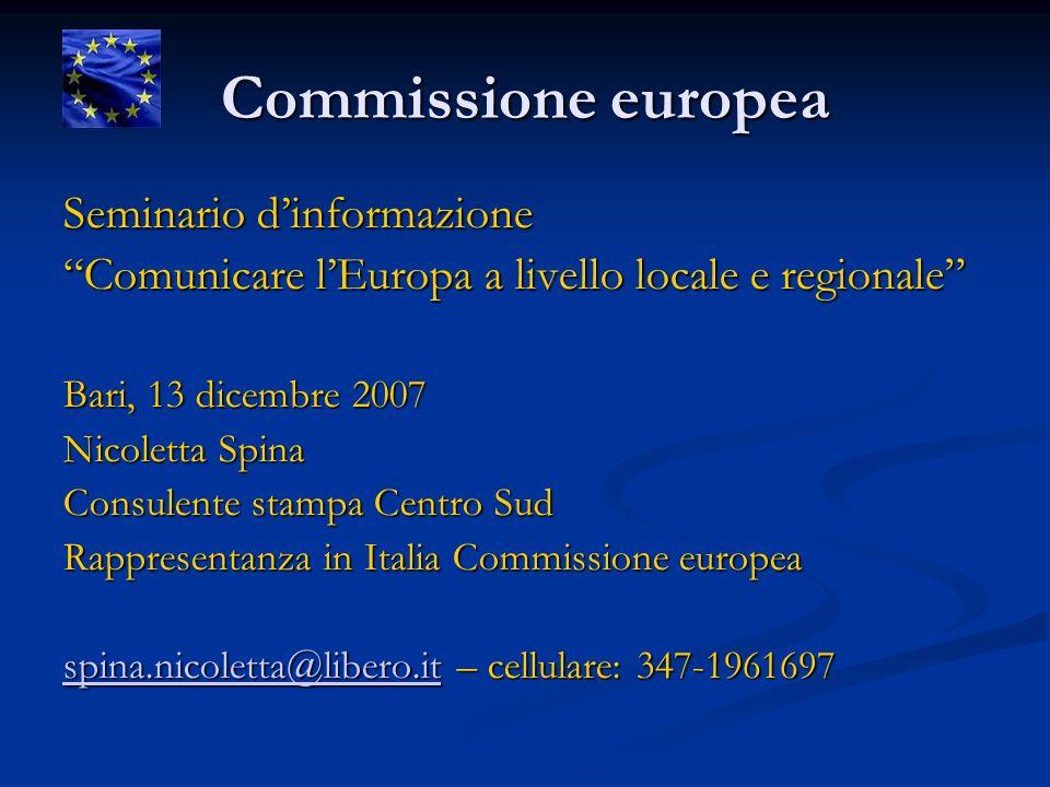 Commissione europea Seminario dinformazione Comunicare lEuropa a livello locale e regionale Bari, 13 dicembre 2007 Nicoletta Spina Consulente stampa C