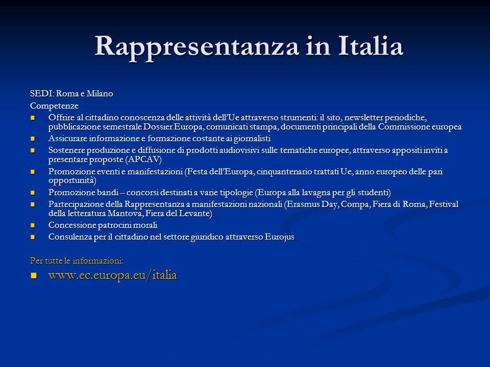 Rappresentanza in Italia Rappresentanza in Italia SEDI: Roma e Milano Competenze Offrire al cittadino conoscenza delle attività dellUe attraverso stru